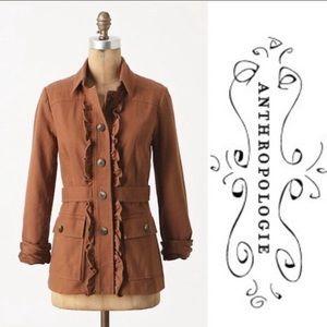 Tabitha Theodore Brown Ruffled Coat